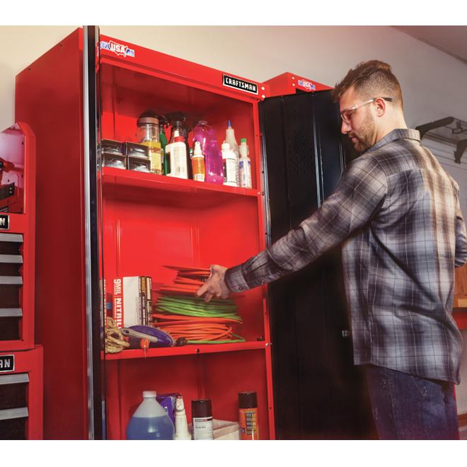 """Garage Storage Cabinet - 74"""" - Red and Black"""