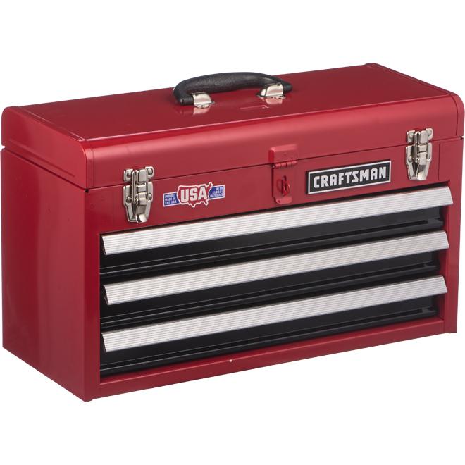 Coffre à outil, 3 tiroirs, 20,5'' x 8,5'' x 12'', rouge