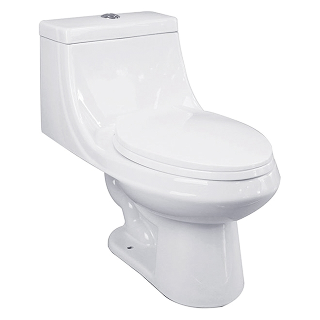 Elongated 1-Piece Toilet - Vitreous China - 3.8 L to 6 L - White