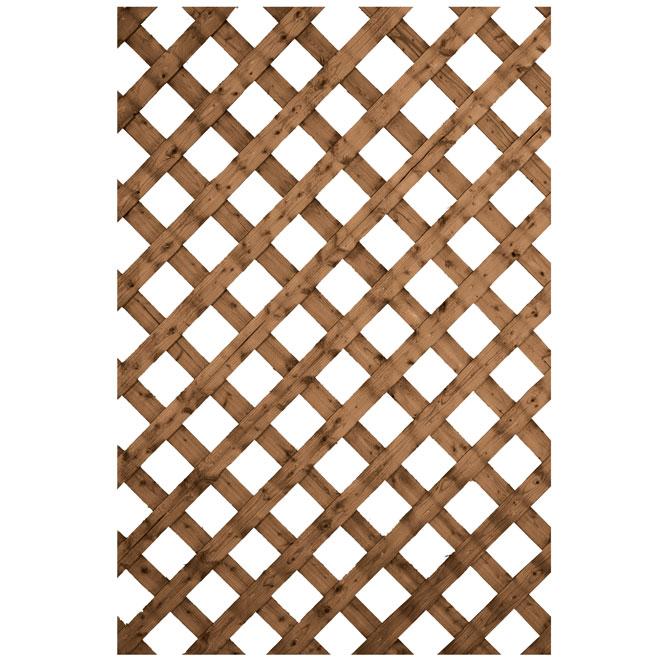 Traditional Treated Wood Lattice - Brown - 4' x 8'