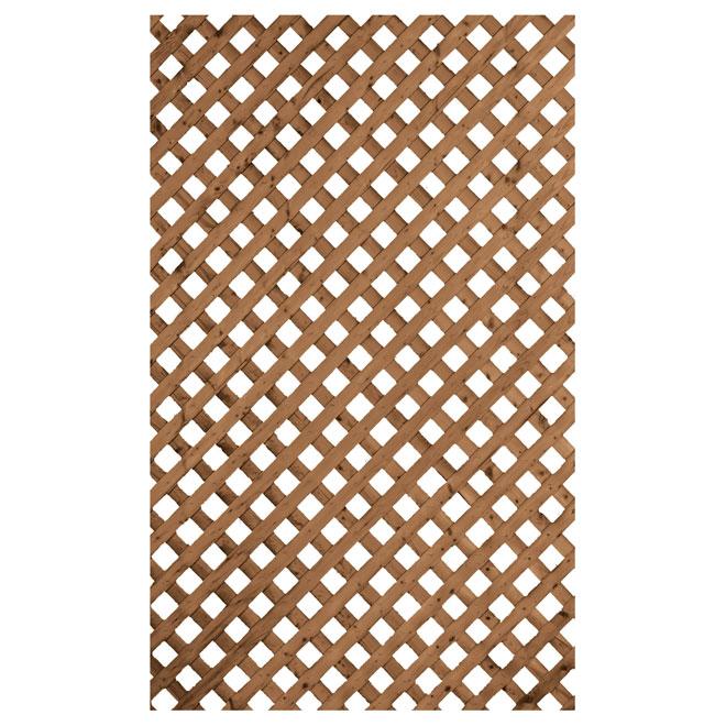 Privacy Treated Wood Lattice - Brown - 2' x 8'