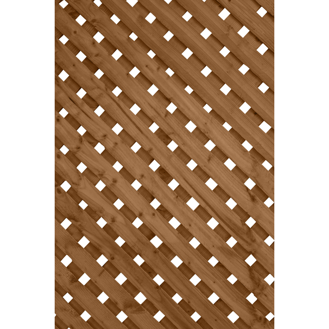 Super Privacy Treated Wood Lattice - Brown - 2' x 8'