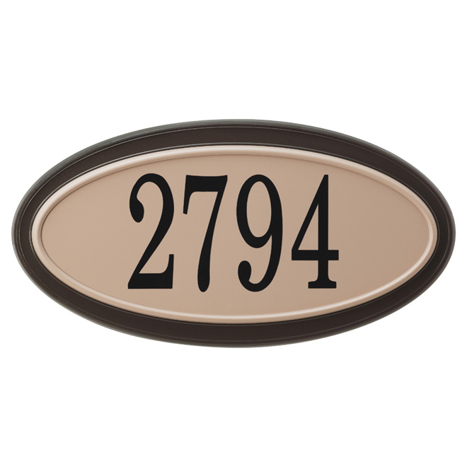 "Oval Address Plate - PVC/Steel - 15 1/2"" x 8"" - Sand"