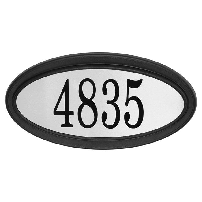 """Plaque d'adresse, acier inoxidable, 15 1/2"""" x 8"""", noir"""