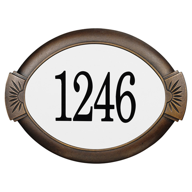 """Plaque d'adresse, 14"""" x 10"""" x 3/4"""", aluminium, bronze antique"""