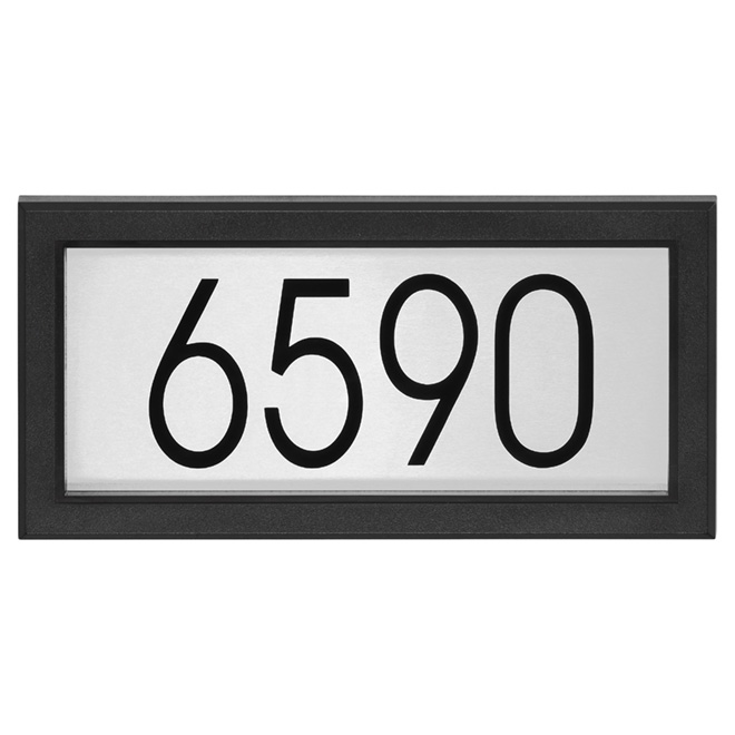 "Address plate - 7"" x 14"" - Black and Stainless Steel"