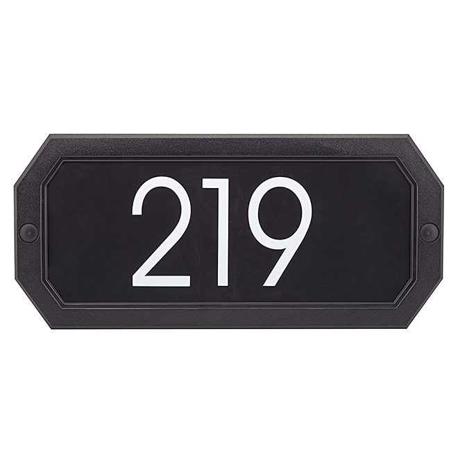Address Plaque - Octogonal - 11.5'' x 5'' - Black