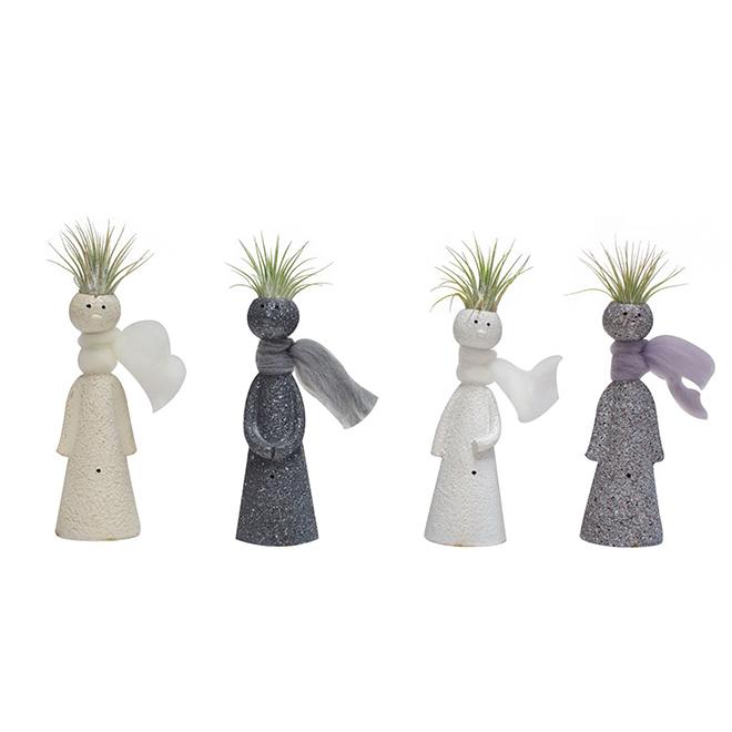 Pot en céramique, Penseurs avec Tillandsia (plante air)
