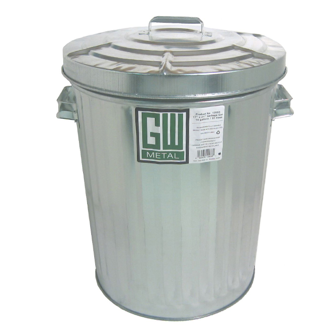 Steel Garbage Can with Plain Cover - 63 L