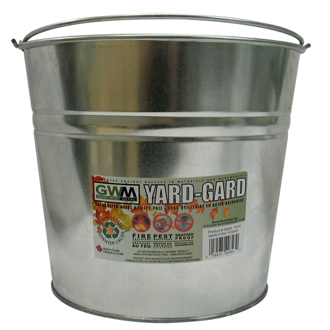 Utility Galvanized Steel Pail - Recyclable - 12 Litres