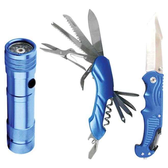 Ensemble de 3 outils - 2 couteaux et 1 lampe de poche