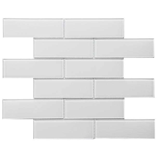 """Glass Mosaic - 12"""" x 12"""" - 10/Box - Super White"""