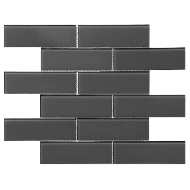 "Glass Mosaic - 12"" x 12"" - 10/Box - Dark Grey"