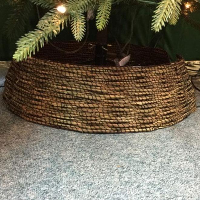 """Cache-pied en rotin pour arbre de Noël, brun, 7"""" x 25"""""""
