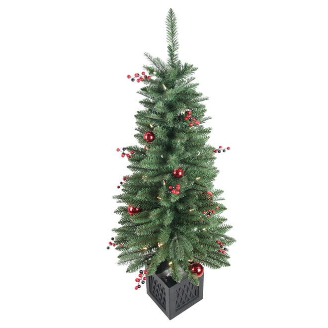 Outdoor Potted Tree - 288 Tips - 4' - PVC/Metal - Green/Red