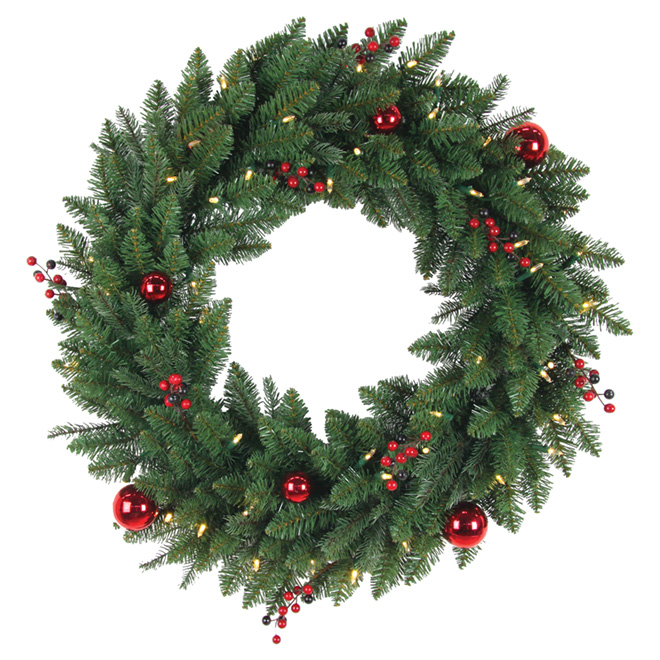 """Decorated and Lighted Artificial Wreath - 30"""""""
