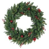 Decorated and Lighted Artificial Wreath - 30