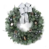 "Christmas Wreath with Bow - 30"" x 30"" - Green and White"