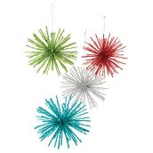 "Christmas Ball Ornaments - ""Starburst"" Model - Pack of 4"