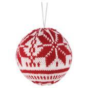 Boules de Noël « Tricot », rouge et blanc, paquet de 6