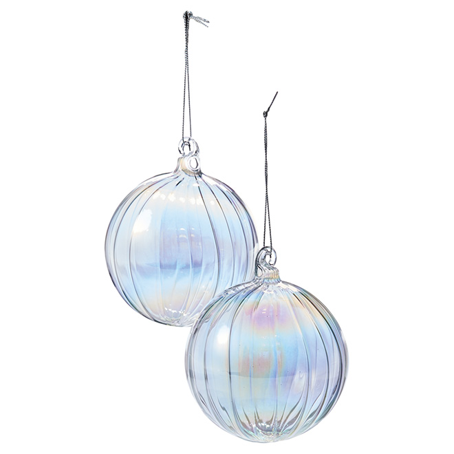Iridescent Christmas Ornaments - Transparent - Pack of 4