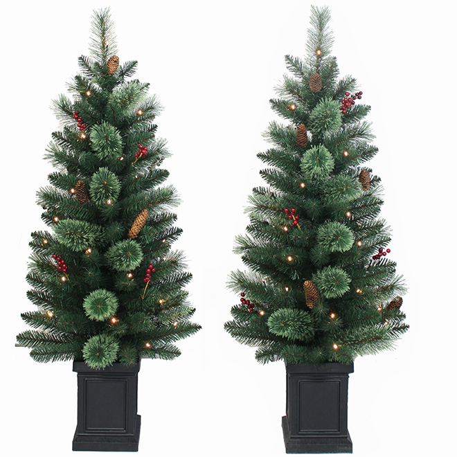 Set of 2 LED Pre-Lit Trees in Pot - 4' - Green