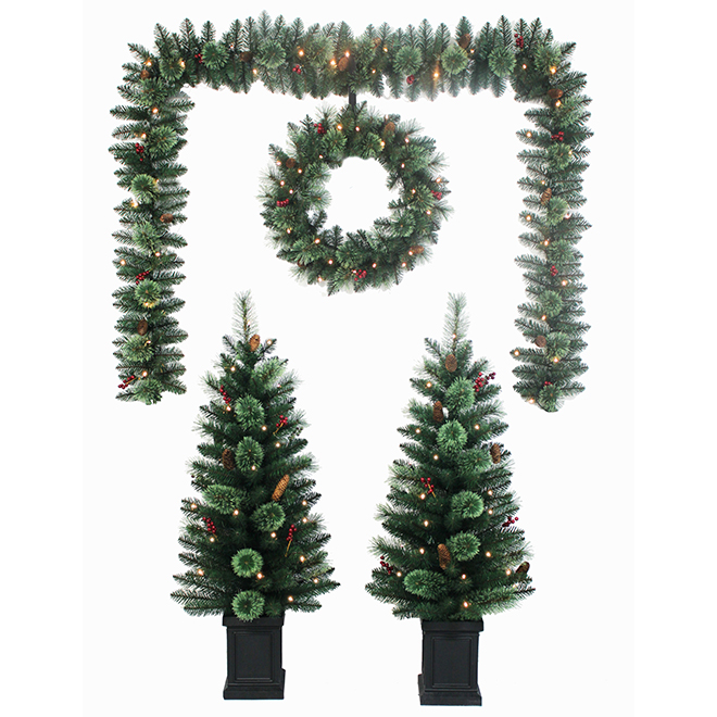 Set of Pre-Lit Christmas Decorations - Metal/PVC - Green