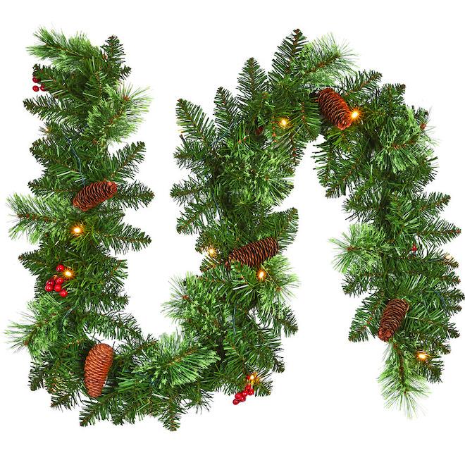Ensemble de décorations de Noël illuminées, métal/PVC, vert