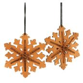 Snowflake 3D Ornament - Wood - Pack of 2 - 2.5''