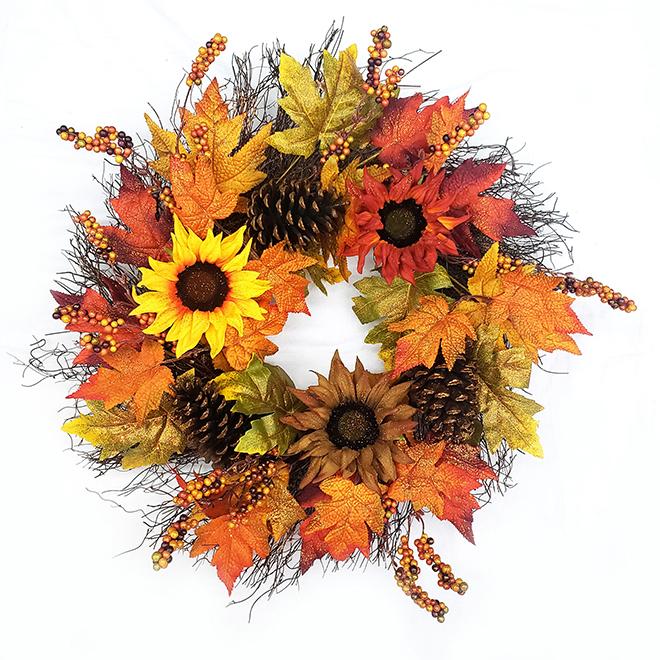 Couronne décorative automnale Harvest Living, 22 po