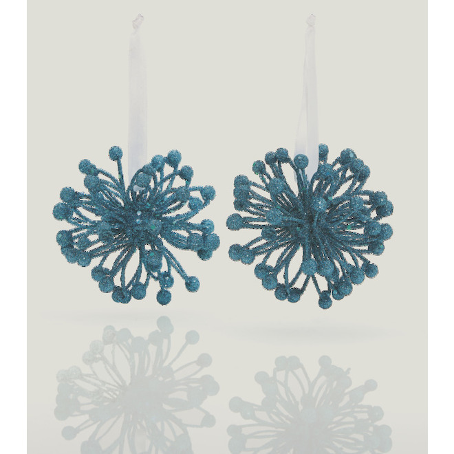 Holiday Living - Starburst Ornaments - Foam/Plastic - 4-in - 2/Pack - Blue