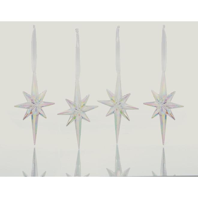 Ornement en forme d'étoile, Holiday Living, plastique, 5 po, 4/pqt, clair