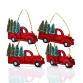 Holiday Living Christmas Truck Ornaments - 5-in - Wood/Plastic - Red/Green - 4/Pack