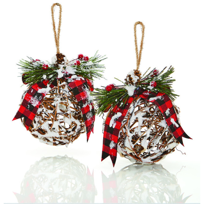 Holiday Living Christmas Ball Ornaments - Frosted Grapevine - 2/Pk