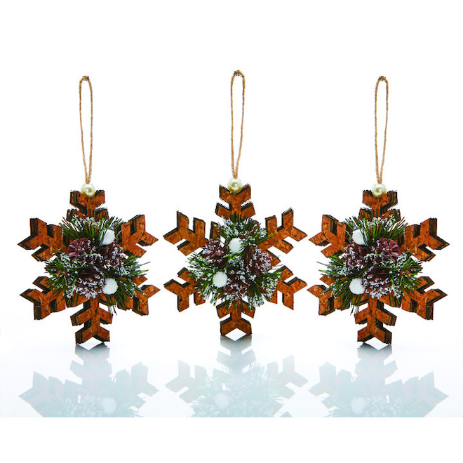Holiday Living Snowflake Ornaments - Cork - 3/Pack