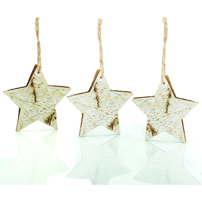 Holiday Living Star Ornaments - 5-in - Wood - Natural - 3/Pack