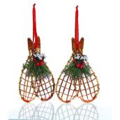Holiday Living Ornamental Snowshoes - 7-in - Rattan - Red/Green - 2/Pack