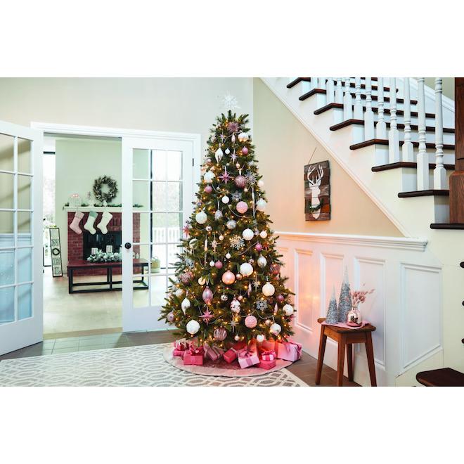 Boules de Noël à paillettes Holiday Living, Palais des glaces, plastique, blanc, paquet de 4