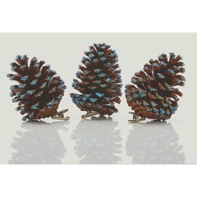 Ornements de pomme de pin Holiday Living avec pince, Paysage céleste, 4,5 po, brun et bleu, paquet de 3
