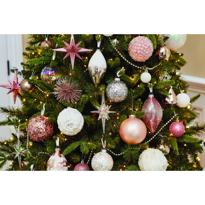 Holiday Living Christmas Ball Ornaments with Stripes - Snow Angel - Glass - Iridescent - 2/Pack