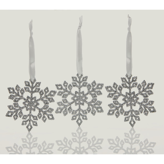 Holiday Living Snowflake Ornaments - Snow Angel - 4-in - Plastic - Silver -12/Pack