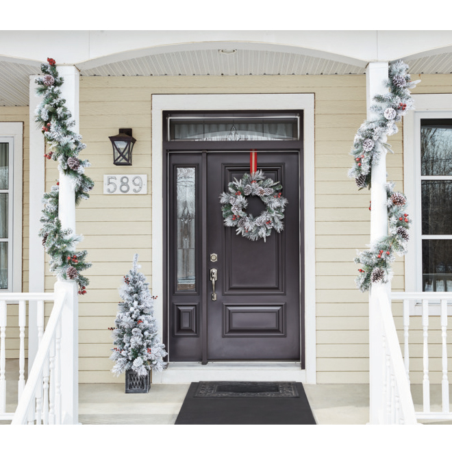 Holiday Living 4-ft Pre Lit Porch Tree - 50 Snowball LED Lights - 219 Tips - Antique Silver Square Pot