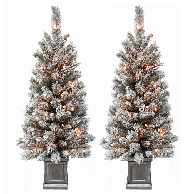 Holiday Living Set of 2 Prelit Flocked Porch Tree - 35 Clear Lights - 137 Tips - Silver Square Pot