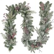 Holiday Living Indoor and Outdoor 9-ft Frosted Garland with White Color LED Bulb