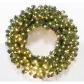 Holiday Living 30-in Pre-Lit Indoor-Outdoor Battery Operated Green Weath White Color LED