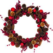 Holiday Living 1-Pack 22-in Indoor Brown Pinecone Artificial Wreath