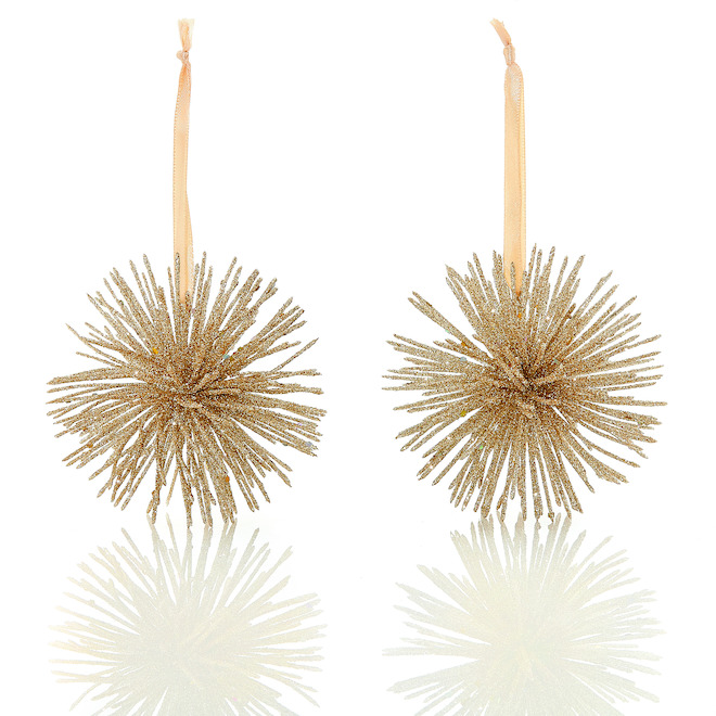 Holiday Living 2-Pack Gold Starbust Shaped Ornaments