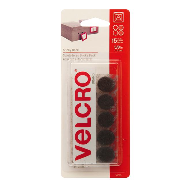 """VELCRO® Sticky Back Coins - 5/8"""" - Black - 15PK"""