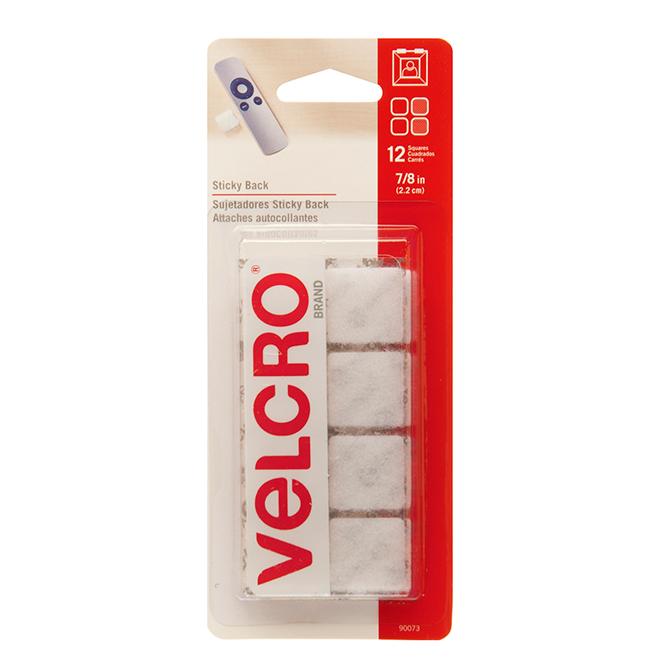 "VELCRO® Sticky Back Square Fasteners - 7/8"" - White -12PK"