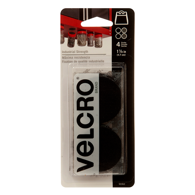 "VELCRO® Brand Disks - Self-Adhesive - 1 7/8"" - Black - 4PK"